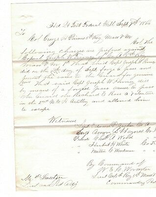1864 Civil War Charges, 5th Reg. Mass Vol, Fort Federal Hill, Forged Pass