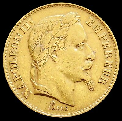 1870 Bb Gold France 20 Francs Napoleon Iii Coin About Uncirculated Condition