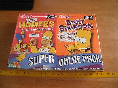 The Simpsons Homer O's Bart cereal box x2 2001 VINTAGE Kelloggs sealed full