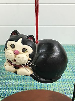 Cute Chalk Fat Black And White Cat Christmas Ornament 4""