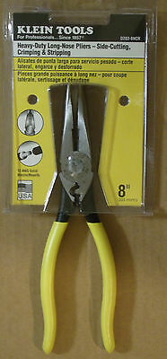 Klein Tools D203-8NCR 8-Inch Heavy-Duty Long-Nose Pliers-Side-Cutting,Crimping &
