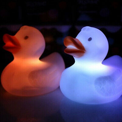 Cute LED Flashing Baby Kids Bath Toy Color Changing Duck Light Lamp Toys