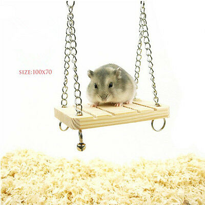 En bois Swing Souris Rat Perroquet Hamster Bell Suspension Suspendu Cage Jouets