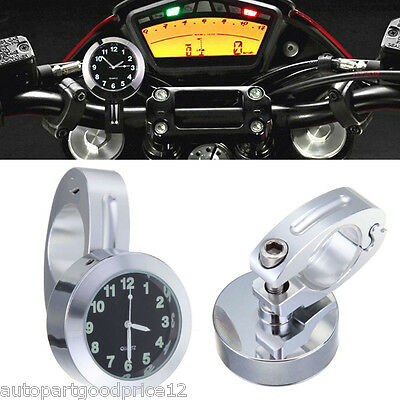 "Universal 7/8"" to 1"" Motorcycle Accessory Handlebar Mount Watch Dial Clock New"
