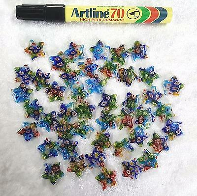 45 GLASS STARS 20mm Multicolor Blue Green Red all mixed Millefiori Glass STARS
