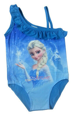 Disney Frozen Princess Elsa Girls Bathing Beach Swim Suit Swimwear 1-Piece Blue