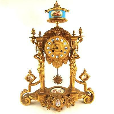 Antique French Ormolu Porcelain Pillar Mantel Clock Japy Freres Sevres