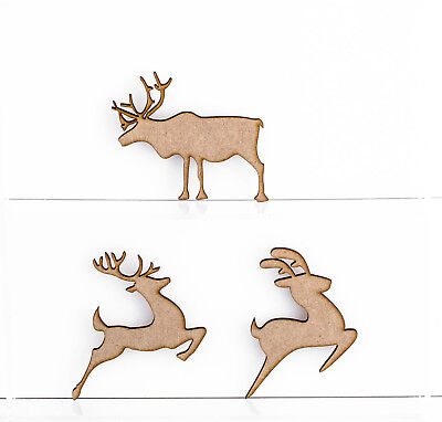 Wooden MDF Christmas Reindeer Shapes 3mm Thick Embellishments Tree Decorations