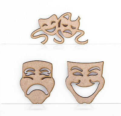 Wooden MDF Greek Masks Comedy Tragedy Theatre Decoration 3mm Thick Tags Blank