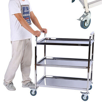 3 Tier Wine Drink Food Hotel Restaurant Stainless Trolley Storage Dining Car New