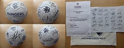 2015-16 Rangers Champions Squad Signed Signature Football - Official COA (8602)