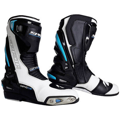 Spada Curve Evo Waterproof Leather Motorbike Motorcycle Boots- White/Blue/Black