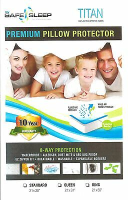 BED BUG Pillow Protector Cover ZIPPERED & WATERPROOF Dust Mite ~ Best Available!
