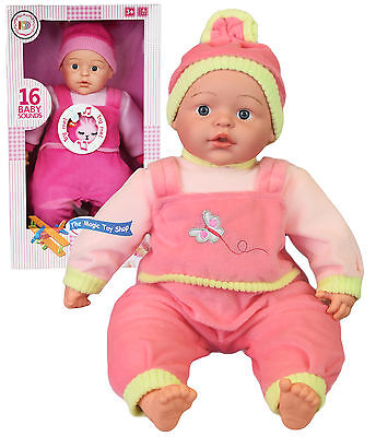 "18"" Crying Laughing New Born Soft Bodied Baby Doll Toy with 16 Baby Sounds"