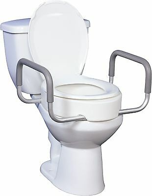 PREMIUM Drive Medical Raised Elevated Toilet Seat Lift Riser Safety Rails w/Arms
