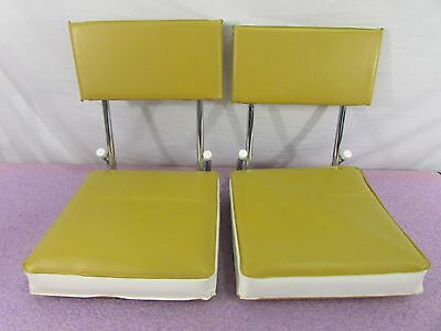Lot of 2: Folding Fishing Boat Chairs - Yellow with White Trim - K.R. Industries