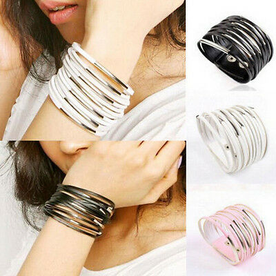 Punk Bangle Cuff Multilayer Leather Jewelry Men Wrap Vintage Women Bracelet Gift