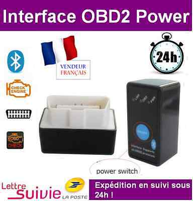 Interface BLUETOOTH POWER SWITCH on/off ODB2 OBDII Scanner Auto voiture ELM OBD2