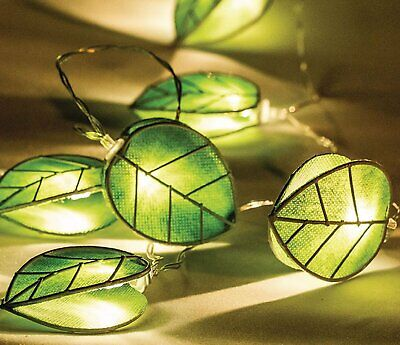 Ex-Pro Hessian Leaf LED Fairy String Lights Battery Powered Warm White