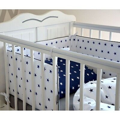 CURTAINS 2-7Pcs Bedding Set COT/COTBED-120x90/135x100/150x120cm-Stars White/Navy
