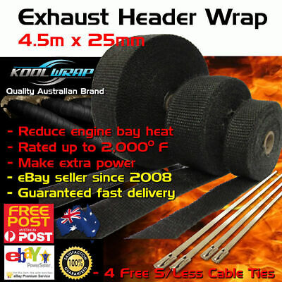 HEADER EXHAUST WRAP TAPE 2000 F Heat Protection Black 4.5m x 25mm + 4 Steel Ties