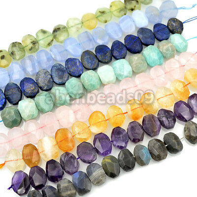 """14x20mm Faceted Natural Gemstone Nugget Beads 7.5"""""""