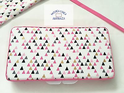 Pink, Black, Gold & Gray Triangles (white) Baby Wipes Case