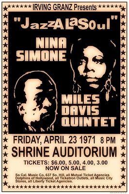 Mile Davis / Nina Simone 1971 box office CONCERT POSTER   JAZZ