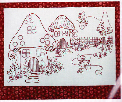 Stitching Fairies, redwork version - embroidery Kit - PATTERN, fabric & floss
