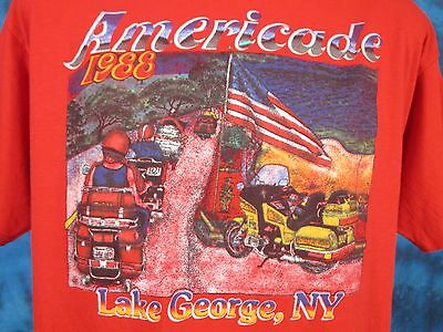 vtg 80s LAKE GEORGE NEW YORK AMERICADE MOTORCYCLE RALLY T-Shirt L/XL biker thin