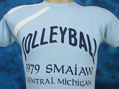 vtg 70s CENTRAL MICHIGAN UNIVERSITY VOLLEYBALL CHAMPION JERSEY T-Shirt XS 80s