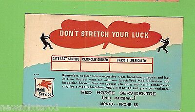#G. Mobil Postcard -  Red Horse Service Station, Monto, Qld - Don't Stretch Luck
