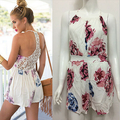New Women Ladies Clubwear Lace Playsuit Bodycon Party Jumpsuit Romper Trousers