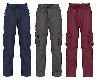 Boy's Trousers Kids Casual Berry, Navy & Grey Cargo Trouser Pants