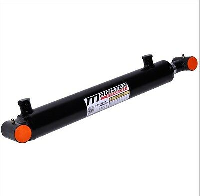 """Hydraulic Cylinder Welded Double Acting 2"""" Bore 14"""" Stroke Cross Tube 2x14 NEW"""