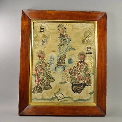 French 18th Century Religious Needlework Embroidery Picture Circa 1740