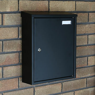 Outdoor Wall Mounted Black Locking Mail/Post/Newspaper Box House/Office/Mailbox