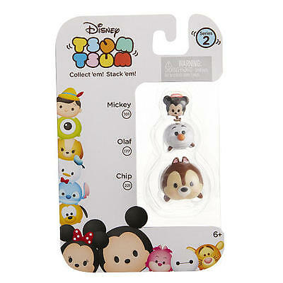 Tsum Tsum's Stacking Mini Figures 3 Pack Series 2 - Mickey, Olaf & Chip
