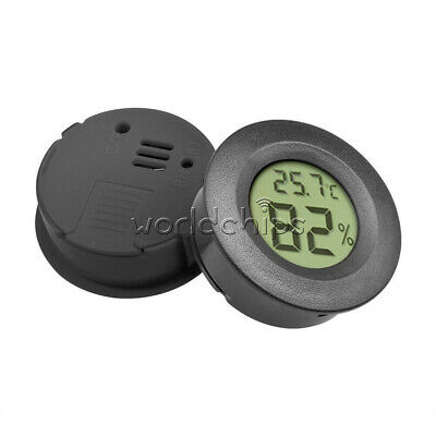 Digital LCD Cigar Humidor Hygrometer Thermometer Round Black Face 1.5V