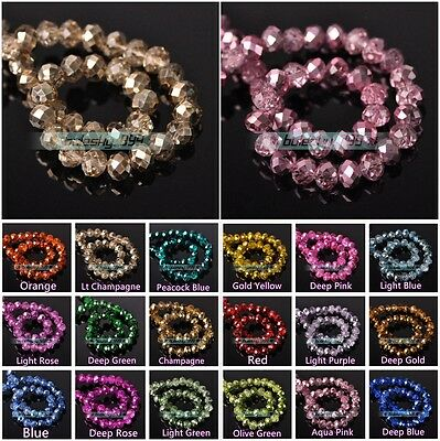Plated&Coated Crystal Glass Faceted Rondelle Loose Spacer Beads 4mm 6mm 8mm 10mm