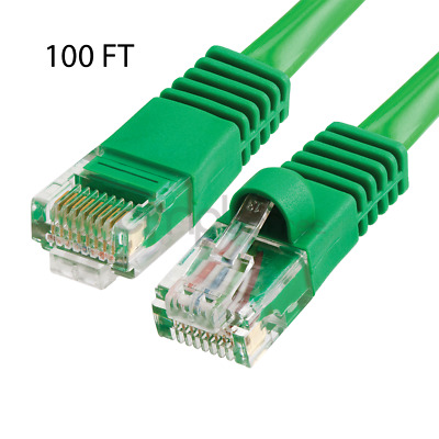 100FT CAT5e Cable Ethernet Lan Network CAT5 RJ45 Patch Cord Internet Green NEW