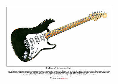 Eric Clapton's Stratocaster 'Blackie' Limited Edition Fine Art Print A3 size