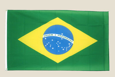 Brazil 3x5 Flag Green Yellow Blue Polyester 2 Brass Grommets Brazilian
