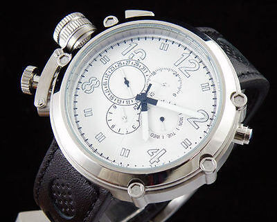 50mm Parnis Big Face white Lefty Automatic Mechanical Men Watch Leather strap