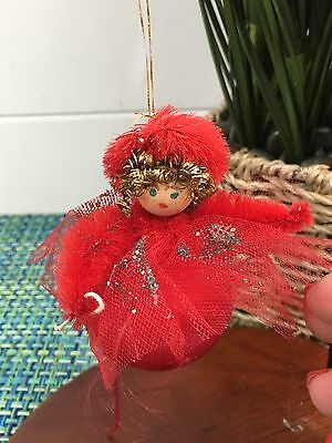 Angel Vintage Christmas Ornament RED Satin Painted Face Spun Cotton Head