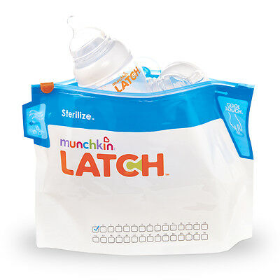 Munchkin Latch Microwave Steriliser Bags - Pack of 6 bags, 180 uses