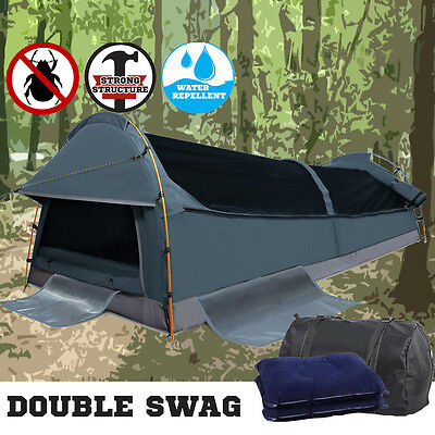 New Biker Swag Camping Single Swag Tent Biking Deluxe Rip Stop Canvas Bag