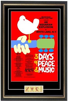 Woodstock 1969 Concert Poster & Ticket Ready to frame! Beautiful set hendrix,who
