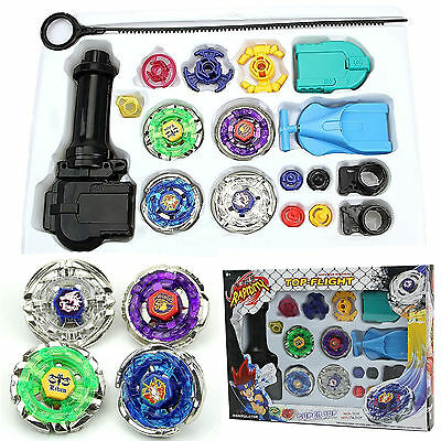 Hot Top Fusion Metal Master Fight Rapidity Rare 4D Beyblade Launcher Set Kid Toy