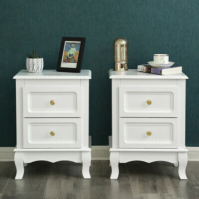 Songmics 2 Drawers Bedside Table Cabinet White Chest of Drawer Nightstands RDN